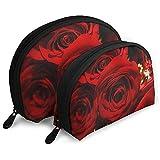Rote Rosen tragbare Taschen Make-up Tasche Kulturbeutel, Multifunktions tragbare Reisetaschen kleine...