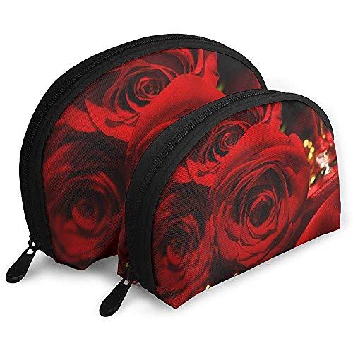 Rote Rosen tragbare Taschen Make-up Tasche Kulturbeutel, Multifunktions tragbare Reisetaschen kleine Make-up Clutch Pouch mit Reißverschluss