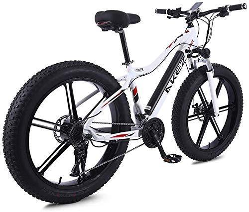 Bicicleta de montaña eléctrica de alta velocidad de 26 pulgadas, 350 W, 36 V, 10 Ah, plegable, con pedal de 27 velocidades, freno de disco y tres modos de trabajo para adultos (color: blanco)