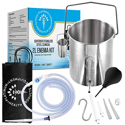 2 L Stainless Steel Enema Kit for Water & Coffee Colon Cleansing   Includes Bucket, Silicone Tubing, Instructions, Enema Bulb, Washable Tips, Storage Bag   Personal & Home Use