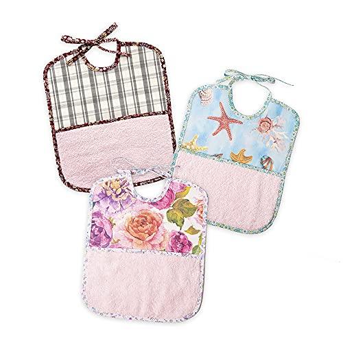 PLACEMATFAB Baberos grandes antimanchas, impermeables y lavables. Con bolsillo de toalla. Tela de algodón resinado. Para bebé niño o niña de 9 meses y 4 años. Hechos a mano. 3 unidades de 27x32 cm.