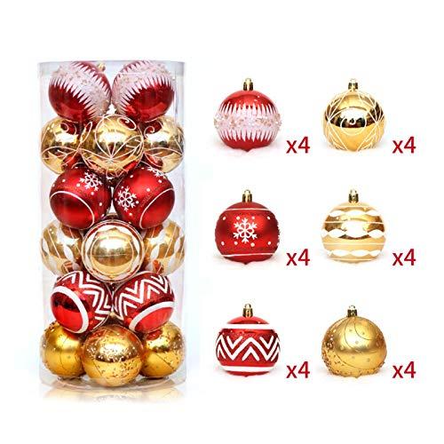 Manyao - 24 palline di Natale in PVC, decorazione da appendere all'albero di Natale, 6 cm (rosso + oro)