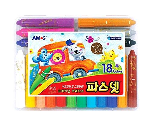 AMOS Premium Oil Pastel Pasnet Classic 18 Colors Non-Toxic Silky Crayon