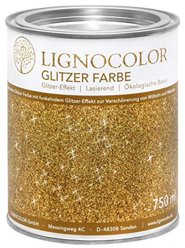 Lignocolor Glitzer Farbe (750 ml, Gold) Möbel und Wände in Glitter Optik Effektfarbe Glitzereffekt, nicht deckend (transparent) – Made in Deutschland