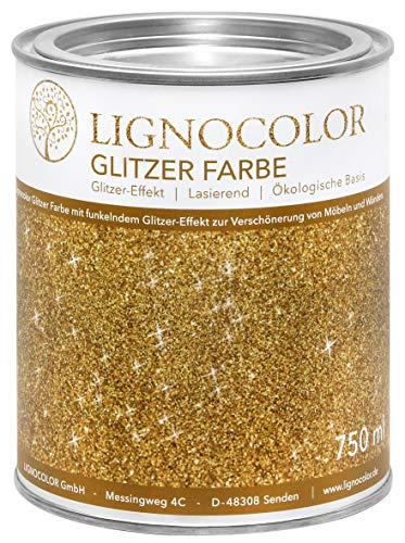 Lignocolor Glitzer Farbe (750 ml, Gold) für Möbel und Wände in Glitter Optik, Effektfarbe Glitzereffekt, transparent lasierend – hergestellt in Deutschland