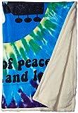 Liquid Blue Men's Woodstock Peace and Love Spiral Tie Dye Warm Throw Blanket, Multi, 50' X 60'