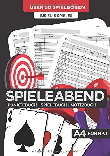 SPIELEABEND | Punktebuch | Spielebuch | Notizbuch | über 50 Spielbögen | bis zu 6 Spieler: Für die Spielerunde mit Freunden, der Familie oder zu zweit | 108 Seiten | großes A4-Format