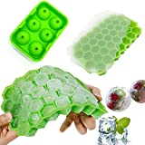 37 Grid Food Grade Honeycomb and Balls Ice Tray Home with Lid DIY Ice Cube Trays Silicone for Ice Cream Party Whiskey Cocktail Cold Drink