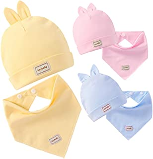 AJUBO Baby Hair Band Rabbit hat Toddler Children bib Saliva Towel Double Combed Cotton Soft 3 Color Suit Combination. Gifts: 1 Baby Glove, Newborn Scratch-Resistant Gloves, Cotton Protective Gloves.