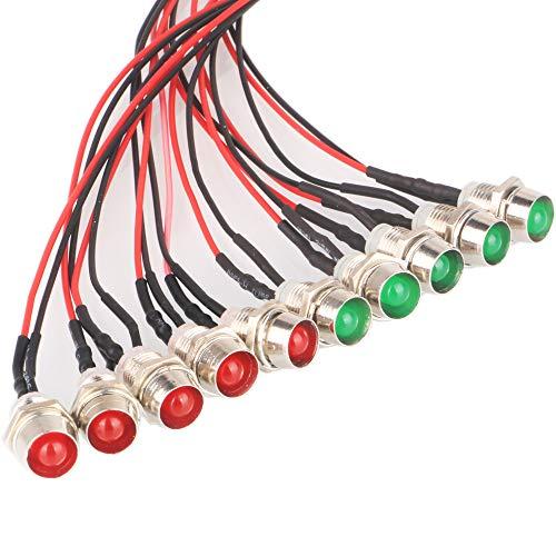 GTIWUNG 10Pcs Luces LED de Diodo 8mm 12V DC Pre Wired LED Diodos Emisores de Luz Lámpara, con Cables de 20cm + 10Pcs 8mm Plástico Soporte de LED Clip Montaje