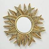Home Collection Espejo de pared con diseño de sol, espejo de pared con hojas de helecho, 38 cm de diámetro, color dorado de resina