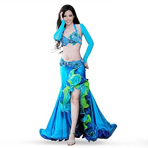 ROYAL SMEELA Disfraz de Danza del Vientre Vestido Sujetador Cinturón Falda Tops 4 Piezas Conjunto Danza del Vientre Flamenco Vestidos Ropa de Mujer Sujetador Pretina Falda Larga