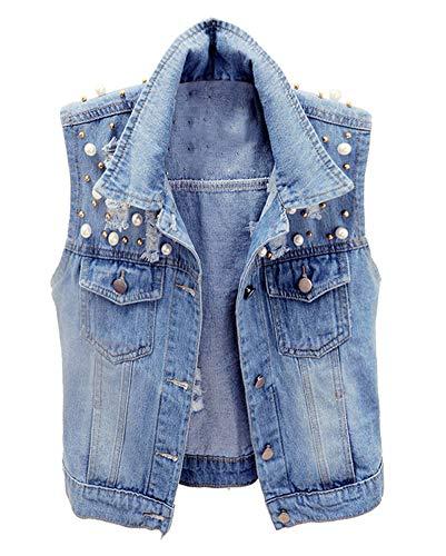 CYSTYLE Damen Jeansweste Ärmellos Frühling Sommer-Weste College Style Beiläufige Jeansweste Denim Weste mit Perle Design (Blau, M)
