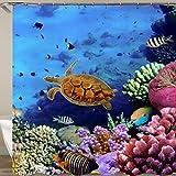 N / A Turtle wasserdichter Duschvorhang Octopus Haushaltsbad Vorhang, Haken Polyester Stoff Badvorhang Haushalt wasserdicht schimmelresistenter Duschvorhang A14 90x180cm