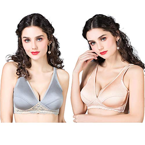 VIGOO Womens Maternity Nursing Breathable Comfort Bra for Sleep and Breastfeeding (Medium/34B,34C,34D, Grey/Nude 2Pack)