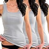 HERMKO 1325 Kit de Tres Camisas Interiores para Mujer, Hechas de algodón 100% Tank Top en Talla Grande, Größe Damen:40/42 (M), Farbe:Gris