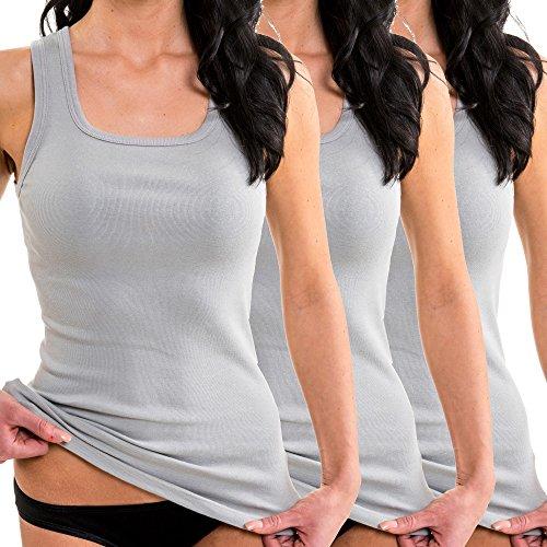HERMKO 1325 3er Pack Damen Longshirt ideal für drüber und drunter (Weitere Farben), Farbe:grau, Größe:32/34 (XS)