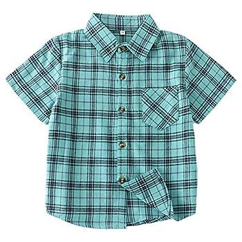 Boys Button Down Short Sleeve Shirts Toddler Buffalo Plaid Shirt with Pocket School Uniform Dress Shirt Turquoise 3T