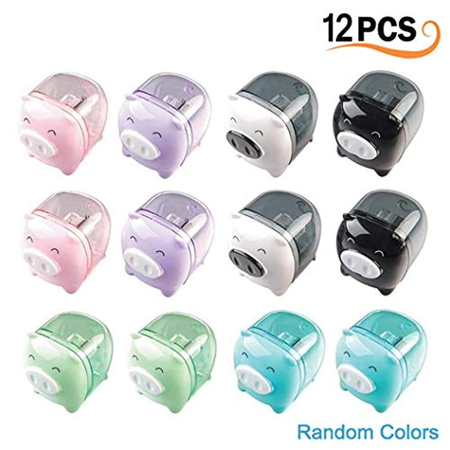 12Pcs Cartoon Piggy Pencil Sharpener, MERYSAN Plastic Mini Pig Pencil Sharpener School Gift Prize for Kids Students - Handheld & Lovely (Mixed Colors)