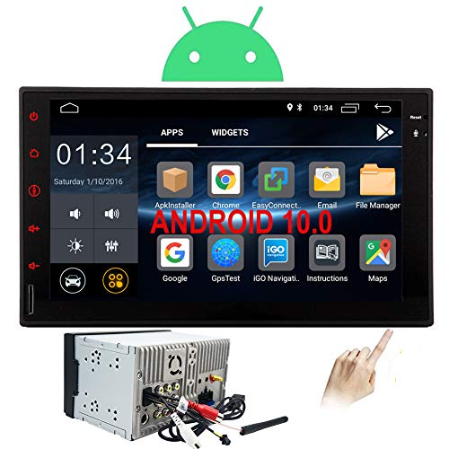 Double Din Car Stereo Android 10.0 Head Unit 2 Din Car Radio with Bluetooth GPS Navigation 7 inch Touch Screen Auto Audio in Dash Headunit Car Tablet Receiver Support SD Mirrorlink SWC WiFi Video Out