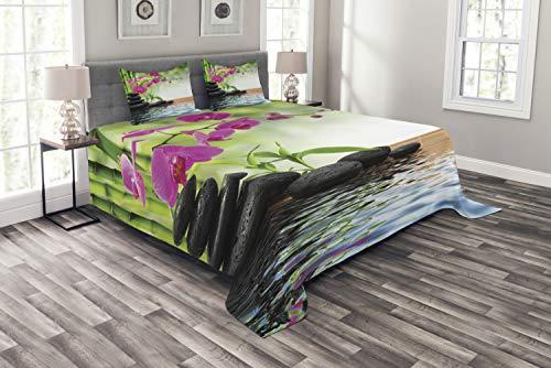 ABAKUHAUS Spa Tagesdecke Set, Bambus-Baum Orchid Steine, Set mit Kissenbezügen Sommerdecke, für Doppelbetten 220 x 220 cm, Fuchsia Holzkohle grau Kalkgrün