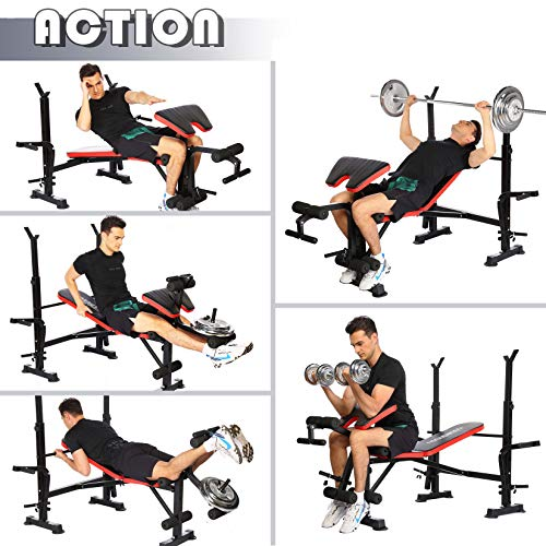 Olympic Weight Bench Multi-Function Adjustable Weight Bench with Preacher Curl Leg Developer Lifting Press Exercise for Full-Body Workout Home Gym Adjustable Weightlifting Bed (Red)