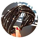 Las mujeres negras del cordón de la moda ancha anudada Hairbands cristalino brillante del pelo de las vendas de la venda del aro Accesorios Accesorio de cabeza, 7