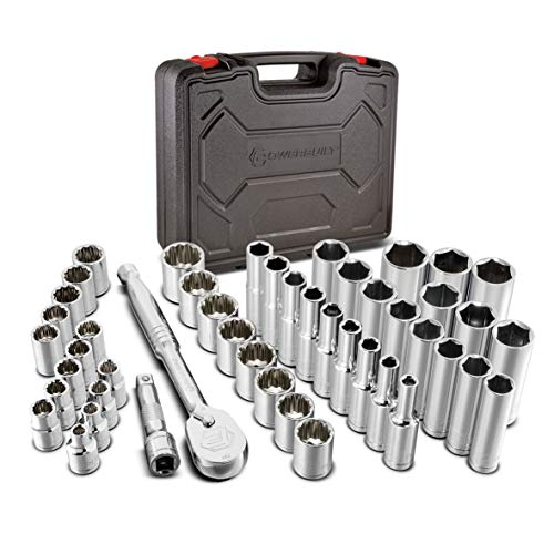 Powerbuilt 642451 47 Piece 3/8-inch Drive Mechanics Tool Set - with SAE and Metric Socket Set, 72 Tooth Seal-Head Ratchet, Automotive Tool Kit, including Case