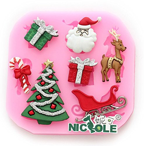 Inovey F0534 Siliconen Kerst Rendier Taartvorm Zeep Chocolade Vorm