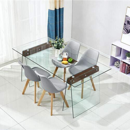 Tavolo da Pranzo Salotto Cucina Soggiorno Consolle in Vetro Temperato e Legno, Tavolo Luxury Sao Paolo, Design e Moderno, Vetro Temperato Trasparente Elegante, 6 Posti 180 x 90 x 76 cm (M)