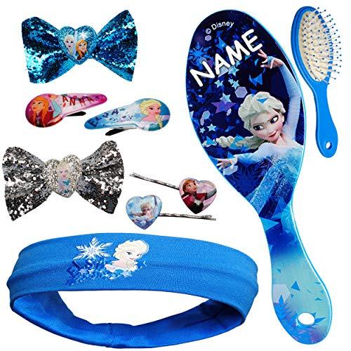 alles-meine.de GmbH Set _ Haarbürste + Haarschmuck - die Eiskönigin - Frozen - inkl. Name - Kinderschmuck - für Mädchen / Kinder - Schmuck Haarschmuck - Haarband / Stirnband - Ha..