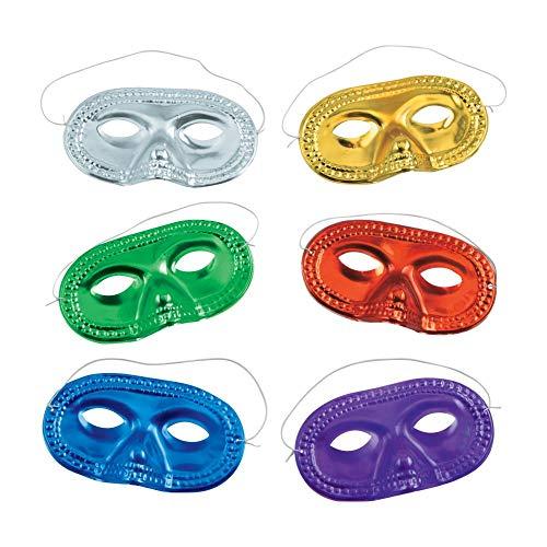 Metallic Half-Masks (24 pieces)-Masquerade Masks, Mardi Gras, Party...