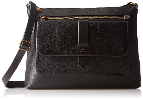 Fossil Women's Kinley Leather Large Crossbody Purse Handbag, Black