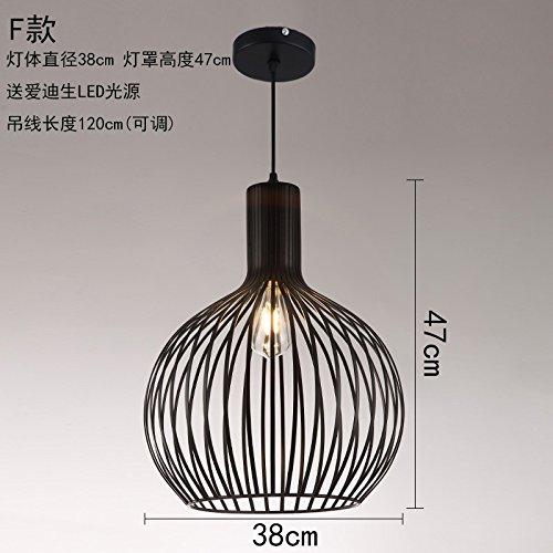 WoOnew Lustre Lampe Fer forgé bar rétro industriel Loft Table Head Wind Cafés Restaurant créatif, F Section 38X47cm