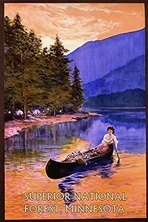 Minnesota Superior National Forest Lady Boat Lake Beautiful Landscape Travel Tourism Vintage Poster Repro 12