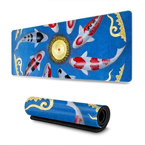 Mouse Pad,Asian Thai Koi Fish Painting Große Mauspad-Mauspad, Personalisierte Gaming-Mausmatte Für Heimcomputerdekoration,30*80cm