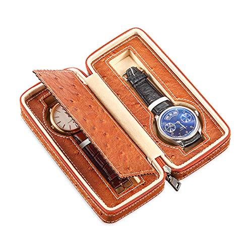 Jlxl Caja organizadora de reloj con 2 ranuras, reloj portátil, caja de viaje, caja de almacenamiento para reloj, piel sintética de grado superior, accesorios de diseño de cremallera (color marrón