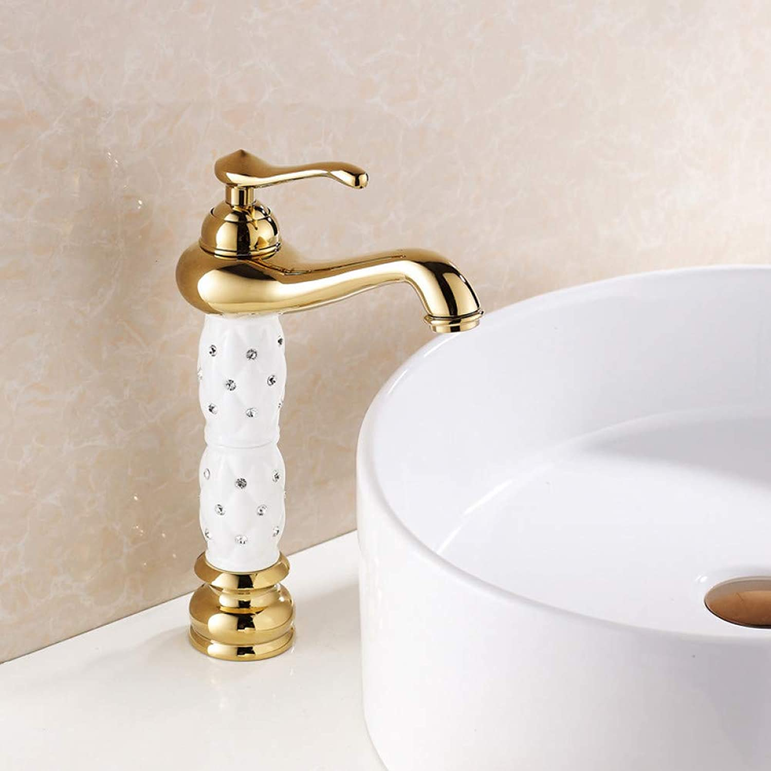 YHSGY Bathroom Sink Taps High-Grade gold Faucet Black-Studded Above Counter Basin Faucet Basin Hot and Cold Faucet