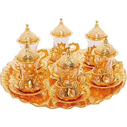 Türkisches Teegläser-Set, Untertassen, Halter, Löffel, dekoriert (Gold) (Eski), 6 Stück