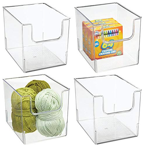 mDesign Plastic Open Front Craft, Sewing, Crochet Storage Container Bin - Compact Organizer and Holder for Thread, Beads, Ribbon, Glitter, Clay, Crayons, Markers, Glue - 4 Pack - Clear