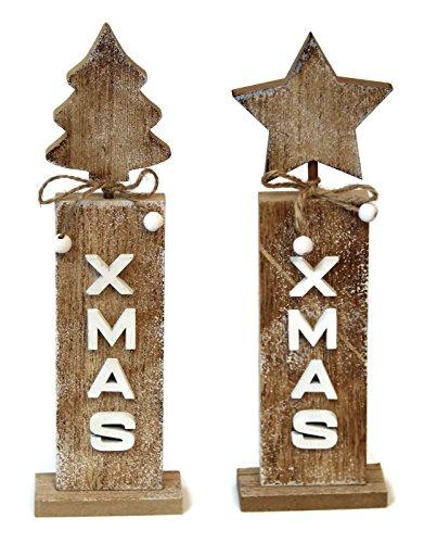 Bada Bing 2er Set Holz Stele Aufsteller Weihnachten X Mas geflammt Natur Tannenbaum Stern 37027
