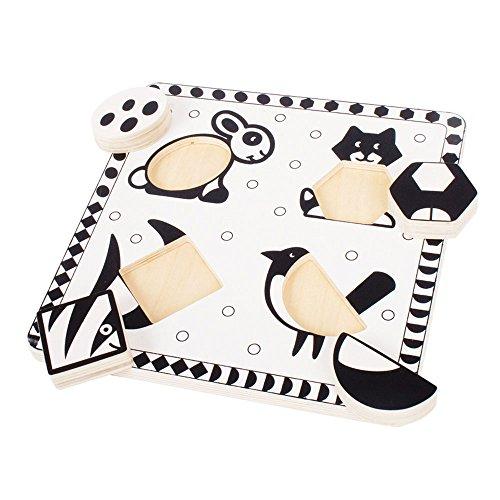 Bigjigs Toys Puzzle Noir et Blanc Animaux domestiques