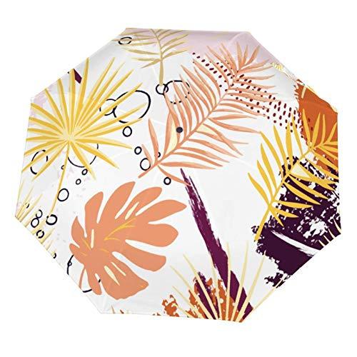 Faltbarer manueller Regenschirm, kompakt, leicht, abstrakte tropische Pflanzen, bunter Sonnenschutz, Sonnenschutz (Vinyl innen)