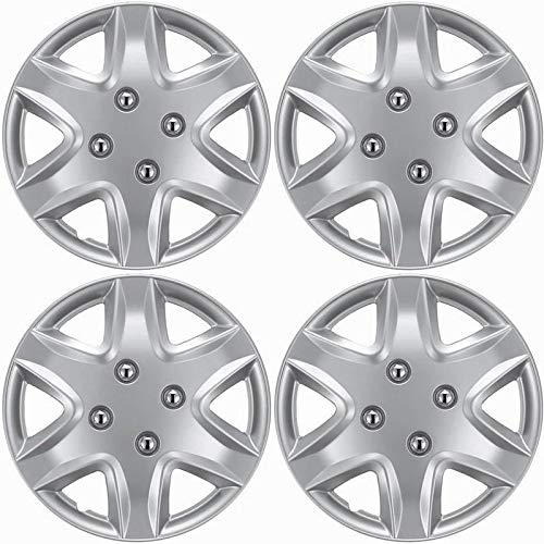 Motorup America Auto Hubcap Set of 4, 14 inch Snap On Wheel Covers - Fits 06-11 Chevrolet Aveo