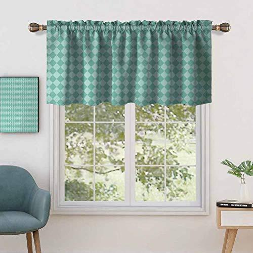 Window Treatment Rod Pocket Blackout Curtain Valance Layers of Ocean Blue Inspired Rectangular Geometrical Tile Seem, Set of 1, 42'x18' for Living Room, Short Straight Drape