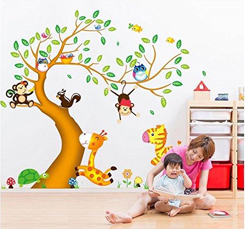 Mznm Jungle Dieren Boom Muurstickers Decals Apen Paradijs Behang Home Salon Kwekerij Party Decoratie voor Kids Kamers