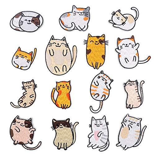 15 Stück Patches zum Aufbügeln Katze Buegelbilder Bestickte Patches Sticker Kinder, Applikation Flicken Zum Aufbügeln für DIY Kleidung Jeans T-Shirt Jacken Rucksäcke