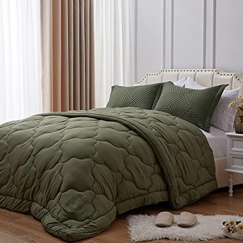 NexHome All-Season 100% Microfiber Down Alternative Comforter for Queen Size Bed Quilt Cozy Soft Summer Lightweight Comforter (Olive Green,Queen)