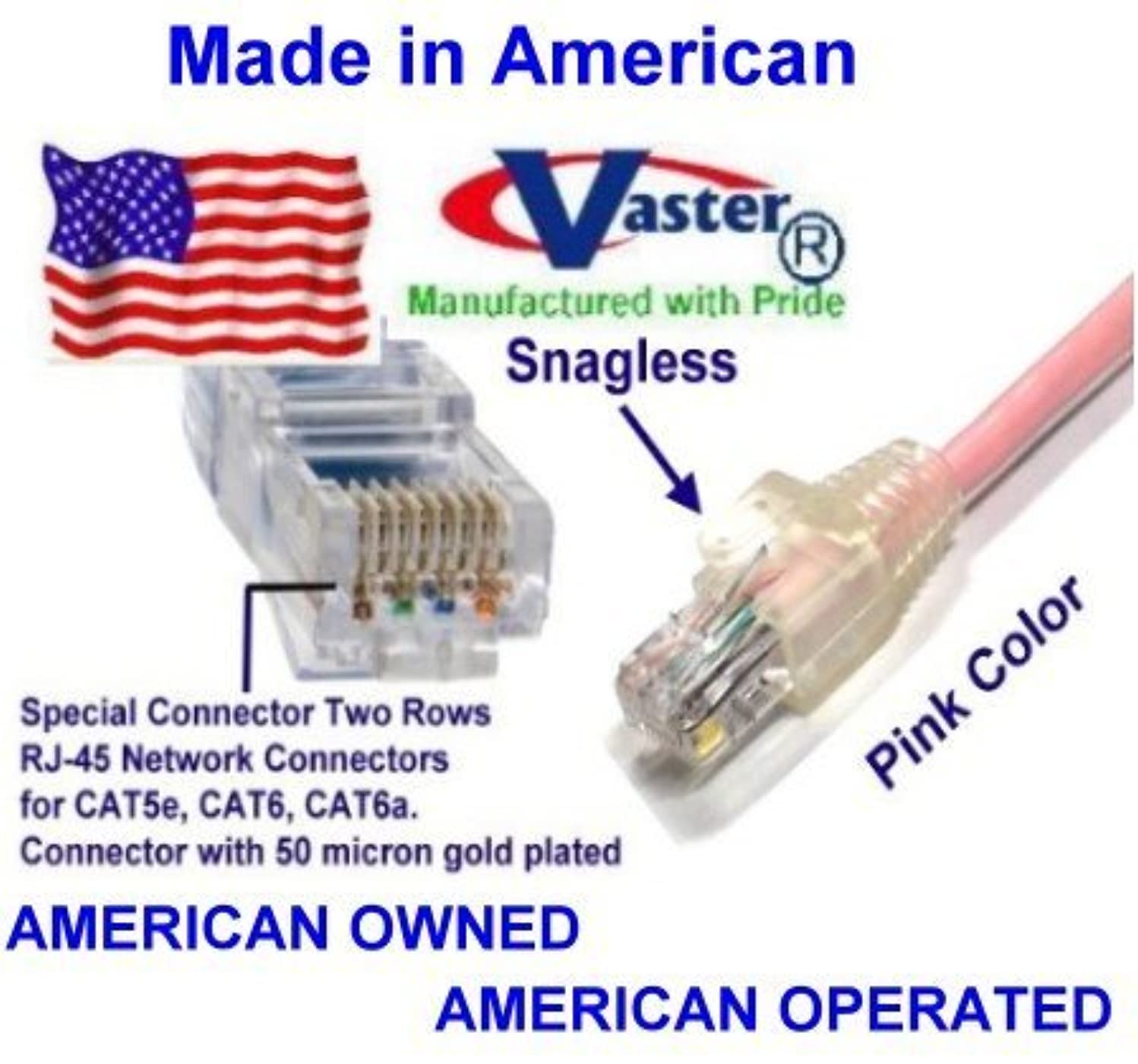 SuperEcable - USA-0676 - 36 Ft UTP Cat5e - Made in USA - PINK – UL 24Awg Pure Copper – Ethernet Network Patch Cable