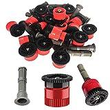 9. Replacement Pop-up Sprinkler Heads, 16PCS Red Adjustable Sprinkler Nozzle Variable Arc Nozzle Adjustable Irrigation Drippers Sprinklers 9.8 Feet, 10VAN